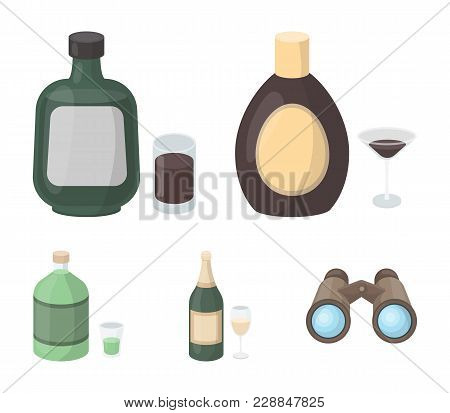 Liquor Chocolate, Champagne, Absinthe, Herbal Liqueur.alcohol Set Collection Icons In Cartoon Style