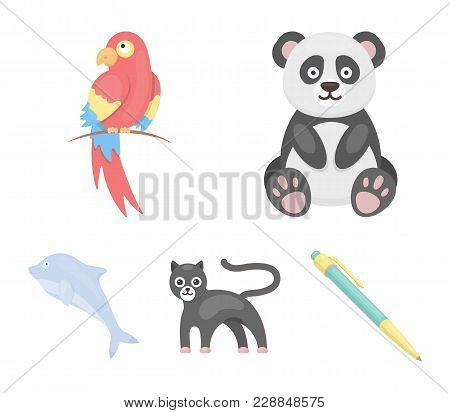 Panda.popugay, Panther, Dolphin.animal Set Collection Icons In Cartoon Style Vector Symbol Stock Ill