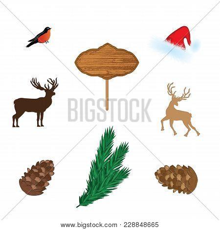 Northern Deer, Fawn, Billboard, Fir Branch, Cone, Bullfinch Santa Claus Hat. Set For Decorating New