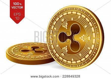 Ripple. 3d Isometric Physical Coins. Digital Currency. Crypto Currency. Golden Coins With Ripple Sym