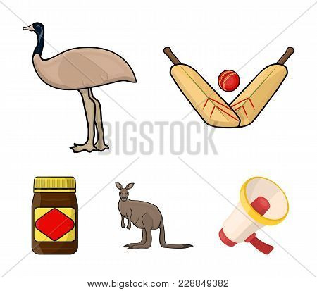 A Game Of Cricket, An Emu Ostrich, A Kangaroo, A Popular Food.australia Set Collection Icons In Cart
