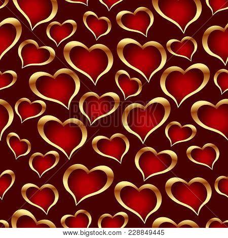 Golden Hearts On Dark Background. Vector Seamless Pattern