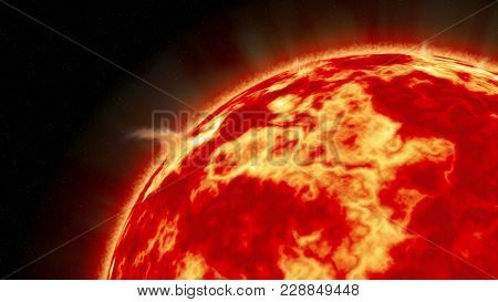 An Artistic Illustration Of The Sun With Impressive Solar Flares As Seen From Space