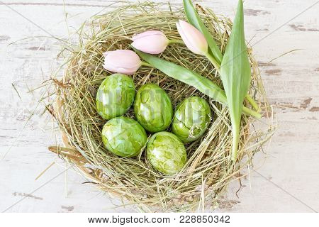 Green Easter Eggs With Tulips In A Hay Nest