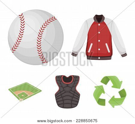 Playground, Jacket, Ball, Protective Vest. Baseball Set Collection Icons In Cartoon Style Vector Sym