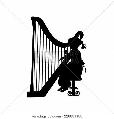 Silhouette Girl Music Playing Harp. Vector Illustration