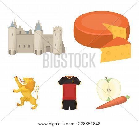 Cheese, Lion And Other Symbols Of The Country.belgium Set Collection Icons In Cartoon Style Vector S