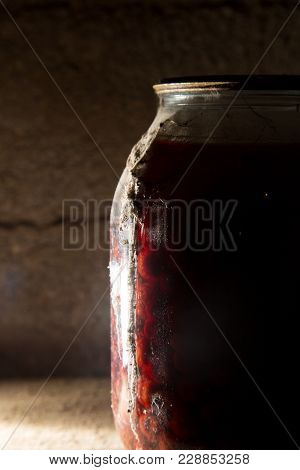 Old Bank With Jam In The Basement In The Dark .
