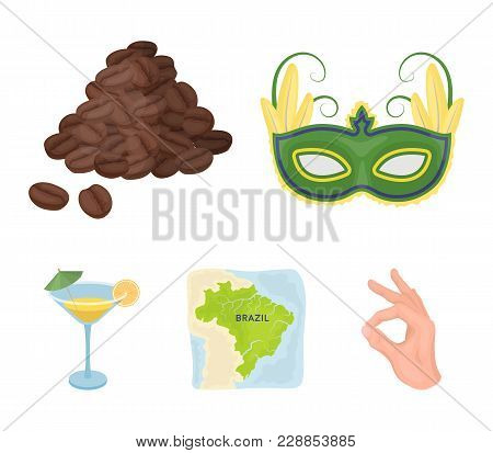 Brazil, Country, Mask, Carnival . Brazil Country Set Collection Icons In Cartoon Style Vector Symbol