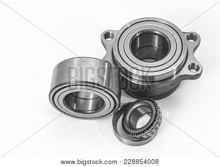 Auto Parts. Spare Parts For The Repair Of Cars. Bearings On A White Background.