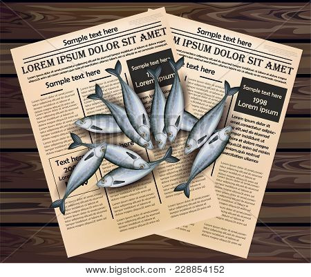 Sprat Fishes Vector. Realistic Fresh Fish 3d Illustration On Newspaper Background. Top View