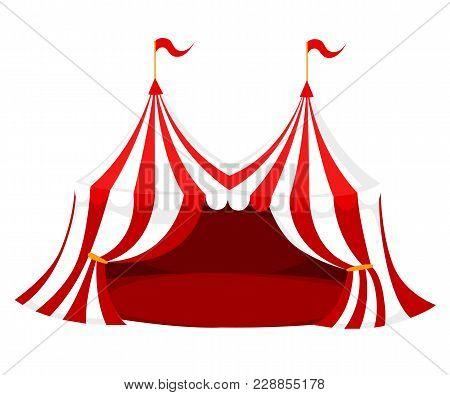 Red And White Circus Or Carnival Tent With Flags And Red Floor Vector Illustration On White Backgrou