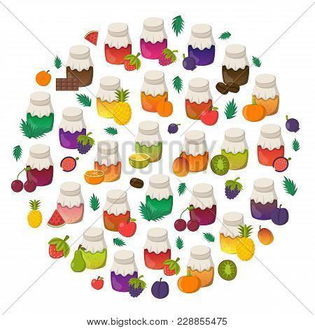 Vector Cartoon Set Of Jam Jars