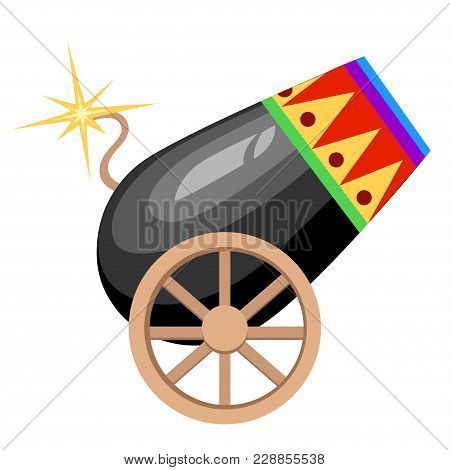 Circus Design Black Cannon On Wheels With Burning Wick And Colored Ornament Vector Illustration On W