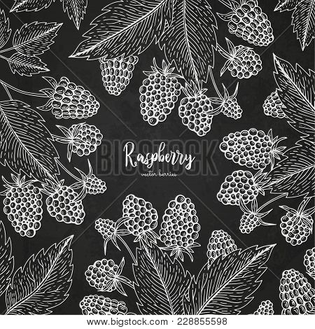 Healthy Food Design Template With Berries. Hand Drawn Frame With Raspberry. Summer Or Autumn Templat