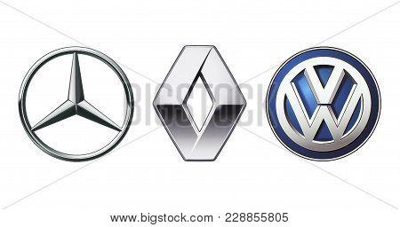 Kiev, Ukraine - November 09, 2017: Collection Of Popular Car Logos Printed On White Paper: Mercedes