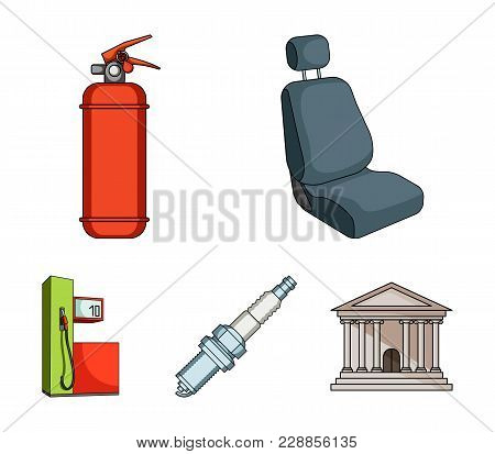 Chair With Headrest, Fire Extinguisher, Car Candle, Petrol Station, Car Set Collection Icons In Cart
