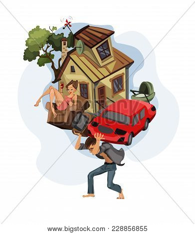 Man Carrying A House And Car On His Back Vector Cartoon Illustration. Money, Work, Dept, Credit Hist