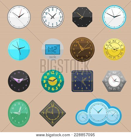 Clock Vector Watch Different Clockwork And Clockface Or Wristwatches Clocked In Time With Hour Or Mi