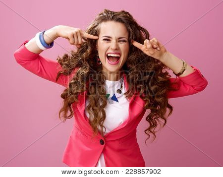 Happy Crazy Woman Isolated On Pink Background