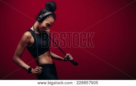 Smiling Woman With A Jumping Rope