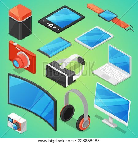 Gadget Vector Digital Device With Display Of Laptop Or Tablet And Camera Isometric Illustration Set