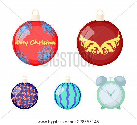 New Year's Toys Cartoon Icons In Set Collection For Design.christmas Balls For A Treevector Symbol S