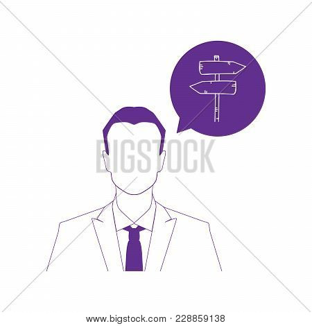 Businessman And Colorful Road Sygn Icon, Vector Illustration