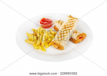 Sandwich With French Fries And Ketchup, Barbecue Sauce. Side View. Serving, Serving For A Cafe, A Re
