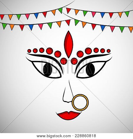 Illustration Of Face Of Hindu Goddess Durga With Decoration On The Occasion Of Hindu Festival Navrat