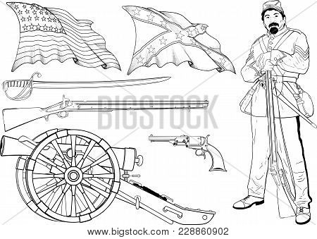 Set Of Images Of The Civil War In The United States Arms, Flags And A Soldier With A Rifle