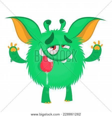 Cute Cartoon Monster Showing Tongue. Smiling Monster Emotion. Halloween Vector Illustration