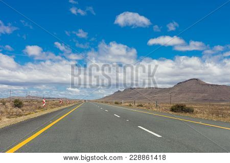 View Of A Desert Landscape From A National Highway Through The Karoo Of South Africa