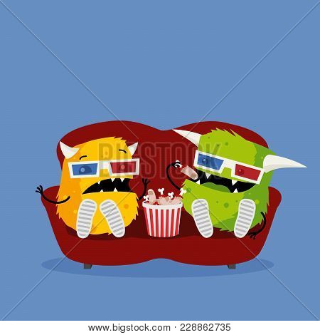 Two Funny Monsters Watching Scary Horror Movie Wearing 3d Glasses, Sitting On Red Couch, And Eating