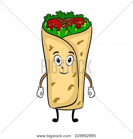 Burrito Cartoon Character Pop Art Retro Vector Illustration. Cartoon Food Character. Isolated Image