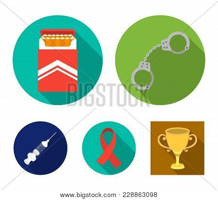 Handcuffs, Cigarettes, Aids Tape, Syringe. Drugs Set Collection Icons In Flat Style Vector Symbol St