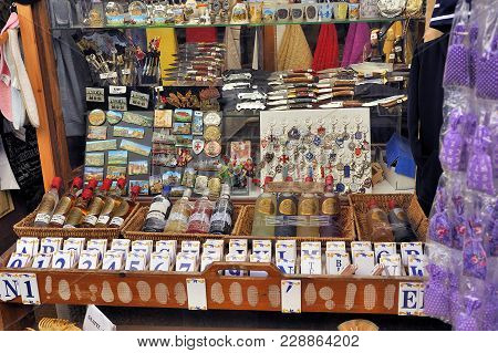Carcassonne, France - September 5, 2017: Shop Of Tourist Souvenirs In The Fortified City Of Carcasso