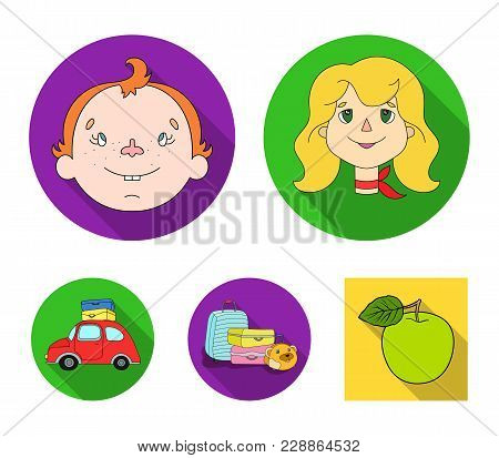 Camping, Woman, Boy, Bag .family Holiday Set Collection Icons In Flat Style Vector Symbol Stock Illu