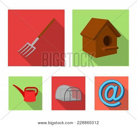 Poultry House, Pitchfork, Greenhouse, Watering Can.farm Set Collection Icons In Flat Style Vector Sy