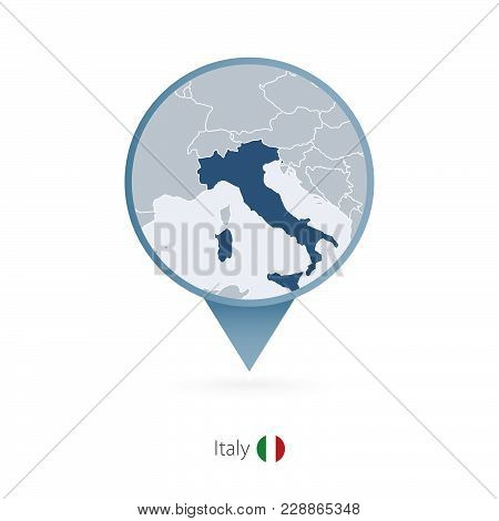 Map Pin With Detailed Map Of Italy And Neighboring Countries.