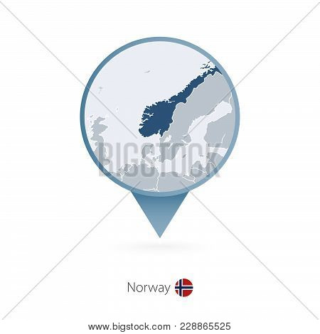 Map Pin With Detailed Map Of Norway And Neighboring Countries.