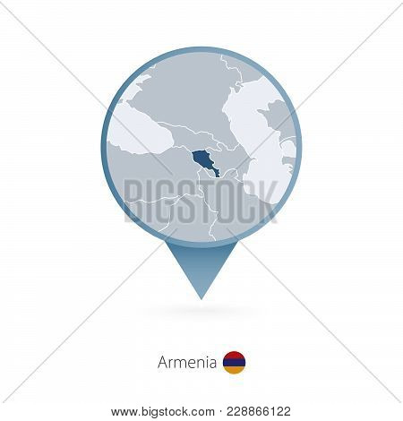 Map Pin With Detailed Map Of Armenia And Neighboring Countries.