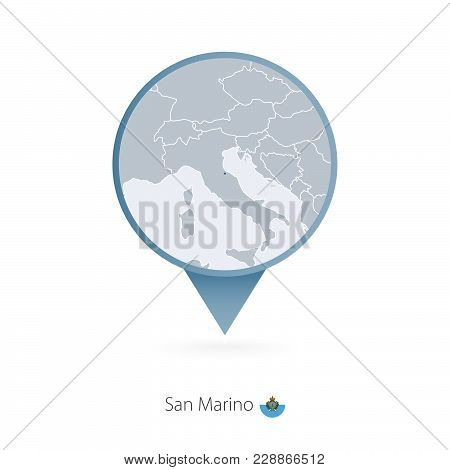 Map Pin With Detailed Map Of San Marino And Neighboring Countries.