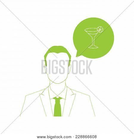 Businessman And Colorful Drink Icon. Vector Illustration.
