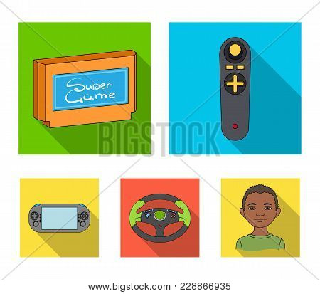 Game Console And Joystick Flat Icons In Set Collection For Design.game Gadgets Vector Symbol Stock