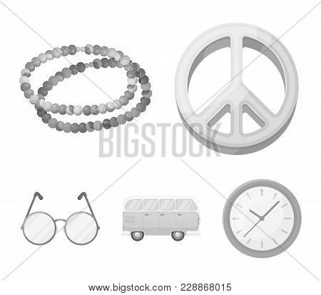 A Hippie Sign, Beads, A Bus, Round Glasses.hippy Set Collection Icons In Monochrome Style Vector Sym