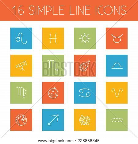 Set Of 16 Astronomy Icons Line Style Set. Collection Of Scorpion, Asteroid, Moon And Other Elements.