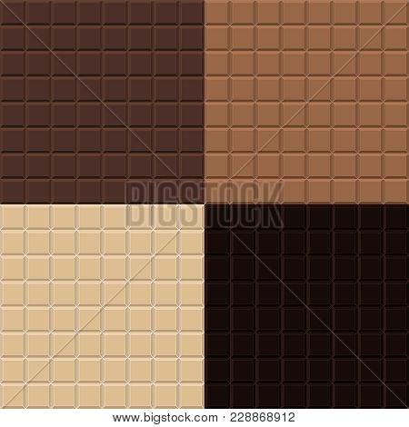 Seamless Texture Chocolate Tile Four Different Grades (white, Milk, Creamy, Dark)