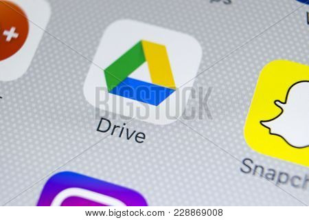 Sankt-petersburg, Russia, February 28, 2018: Google Drive Application Icon On Apple Iphone X Screen