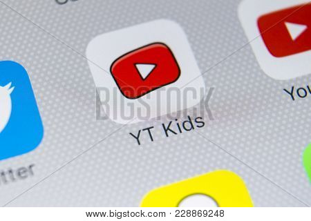 Sankt-petersburg, Russia, February 21, 2018: Youtube Kids Application Icon On Apple Iphone X Screen